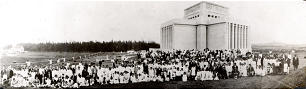 Crowds gather for temple dedication in 1919.