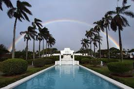 Hawaii's famous rainbows over temple