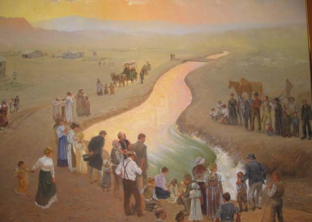 Another section depicting LDS member creating the Sidon Canal as they settle this area of Wyoming.