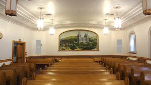 Chapel of church building. Features another Grigwire painting of the Salt Lake temple