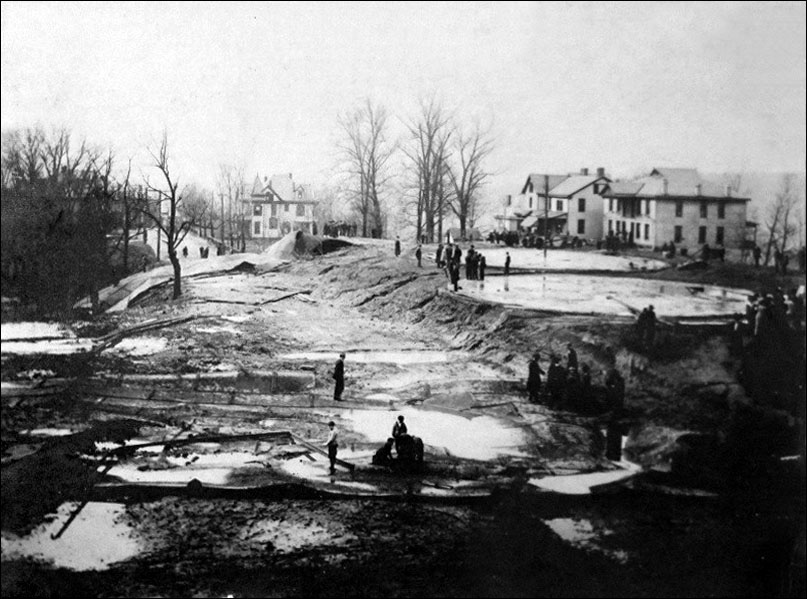 Southward View of Quincy and Shattuck Avenue and the wreckage and remains of the tanks.