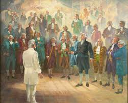 Mural depicting the visit of Eminent Men and Women to Wilford woodruff in the temple