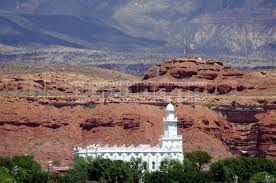Temple with famous southern Utah red rock in background
