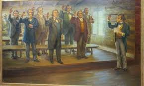 Mural depicting he sustaining of Brigham Young as the new prophet and president of the church