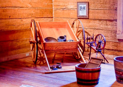A replica of a handcart used by Mormon Pioneers as they trekked west
