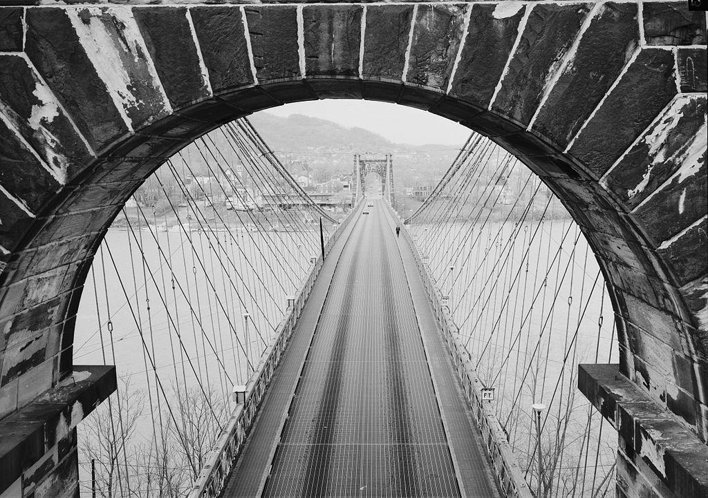 View from the Wheeling Suspension Bridge, 1977. Photo taken from City of Wheeling side, looking West toward Wheeling Island.