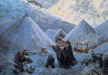 Painting depicting the suffering the pioneers in the area.
