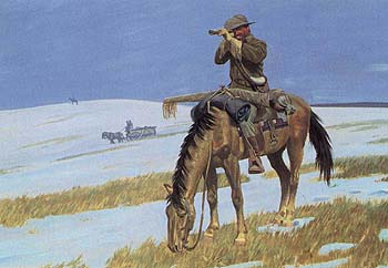 One of four men sent out to find the trapped pioneers so that rescue wagons can get to them.