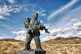 One of the various statues erected to honor the men of the rescue party.