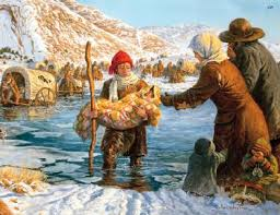 Popular painting of the teenage boys helping people cross the Sweetwater River
