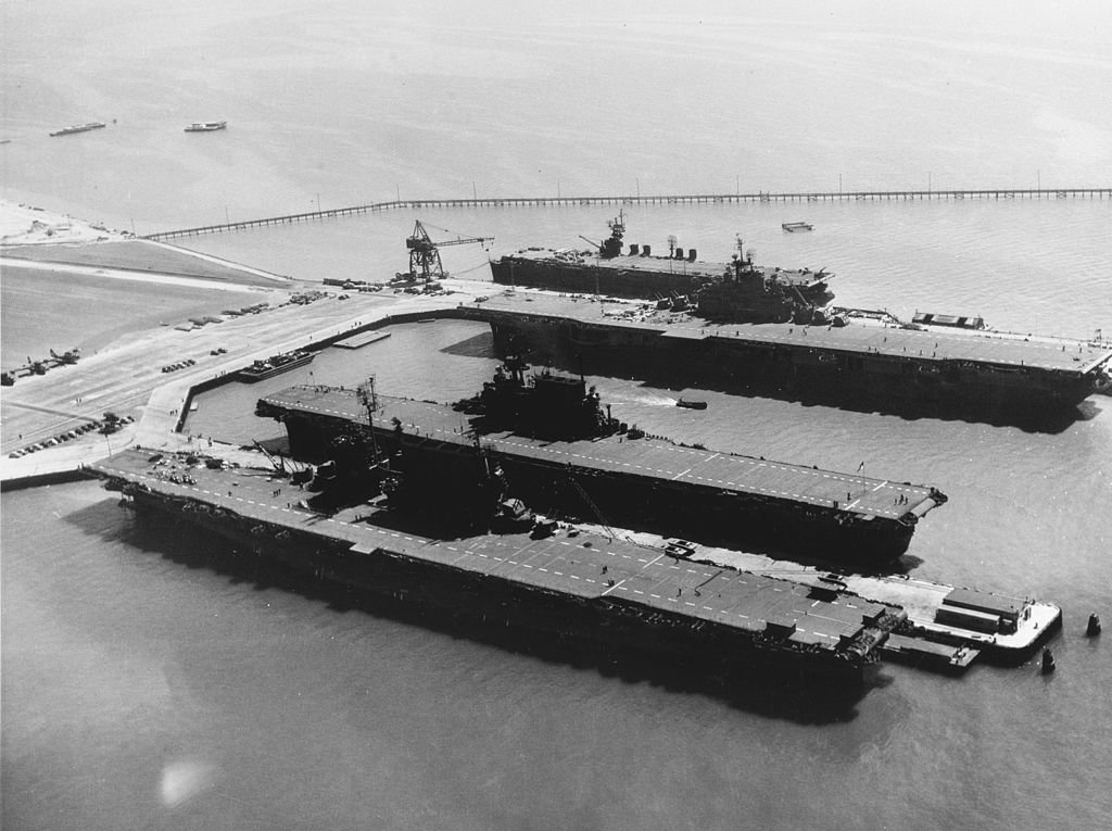 Docked near Hornet's present-day home at the Alameda Naval Air Station, front to back: USS Saratoga, Enterprise, Hornet, and San Jacinto in September 1945. The Enterprise is the same class as the previous Hornet (CV-8).