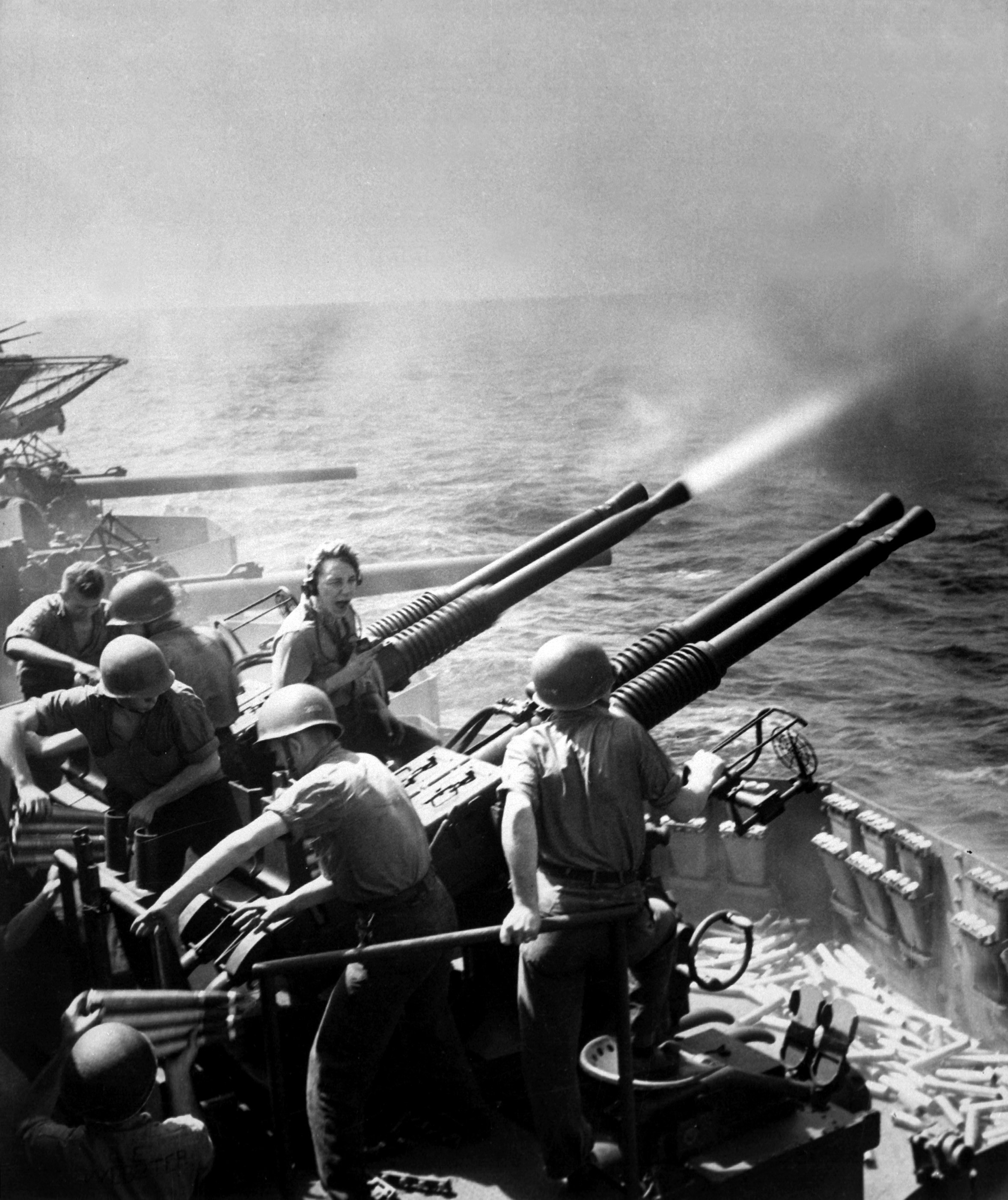 Hornet's antiaircraft batteries helped protect against the deadly kamikaze attacks of the war's latter battles. Here, a quad mount Bofors 40mm gun goes into action.