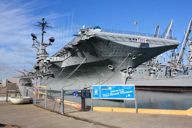 The USS Hornet served with distinction from the 1940s through the 1960s. It was the eighth and final ship to carry the Hornet name. It is 872 feet long and 147 feet wide.