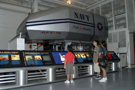 The Flight Simulator is one of the more popular exhibits and offers a five-minute ride.