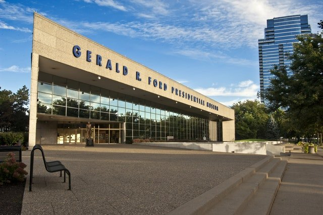 The Gerald R. Ford Museum first opened to the public in 1981. Image obtained from Artprize.