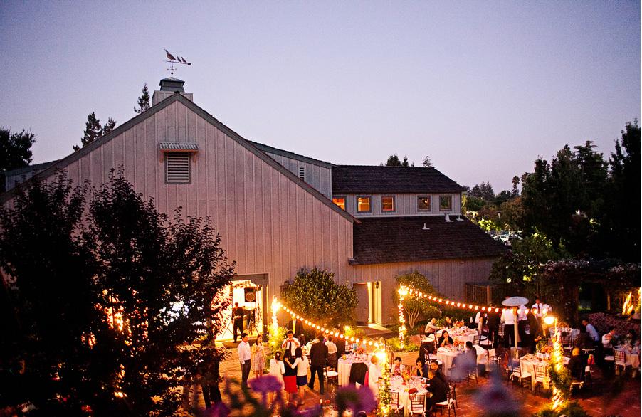Museum at night, hosting a wedding reception.