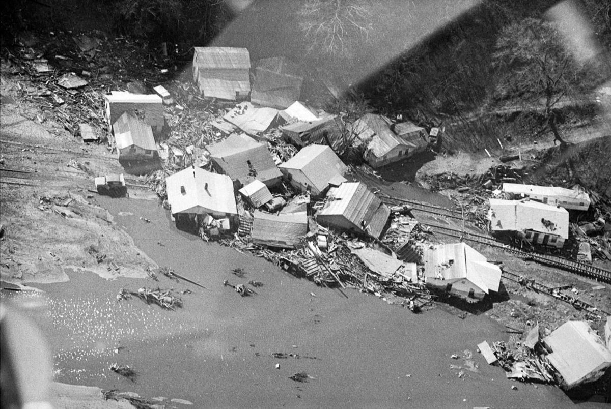 Houses prior to the flood.