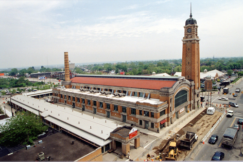 An aerial view of the West Side Market.