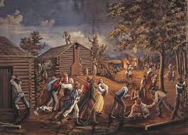 Painting depicitng some of the persecutions of the LDS members in Jackson County, where Independence is located