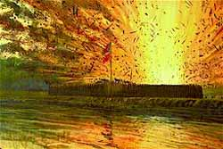 Painting of the magazine explosion at the Fort