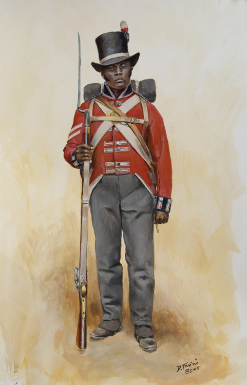 """A soldier in the """"Corps of Colonial Marines,"""" a regiment of free citizens of Florida and ex-slaves who fought alongside the British in the War of 1812."""