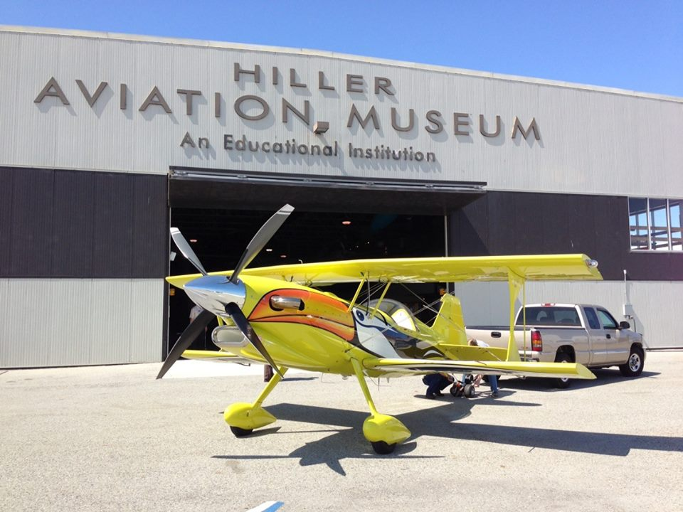 Hiller Aviation Museum with aircraft on display out front.
