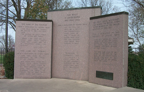 Monument with inscriptions detailing church history in Far West and temple grounds