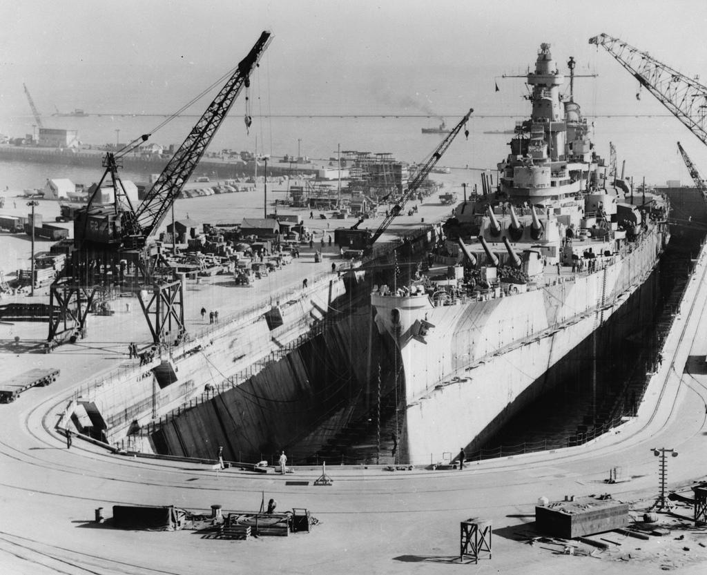 USS Iowa in drydock at Hunter's Point, 1945.