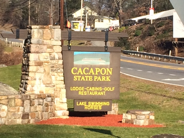 Cacapon State Park entrance sign.