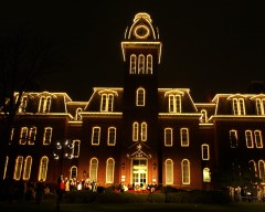 Woodburn Hall is decorated in holiday lights every winter.