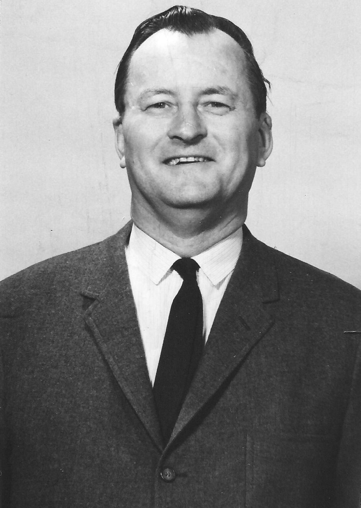 1954 picture of Ohio Valley Bus Company's President, Leonard Samworth.