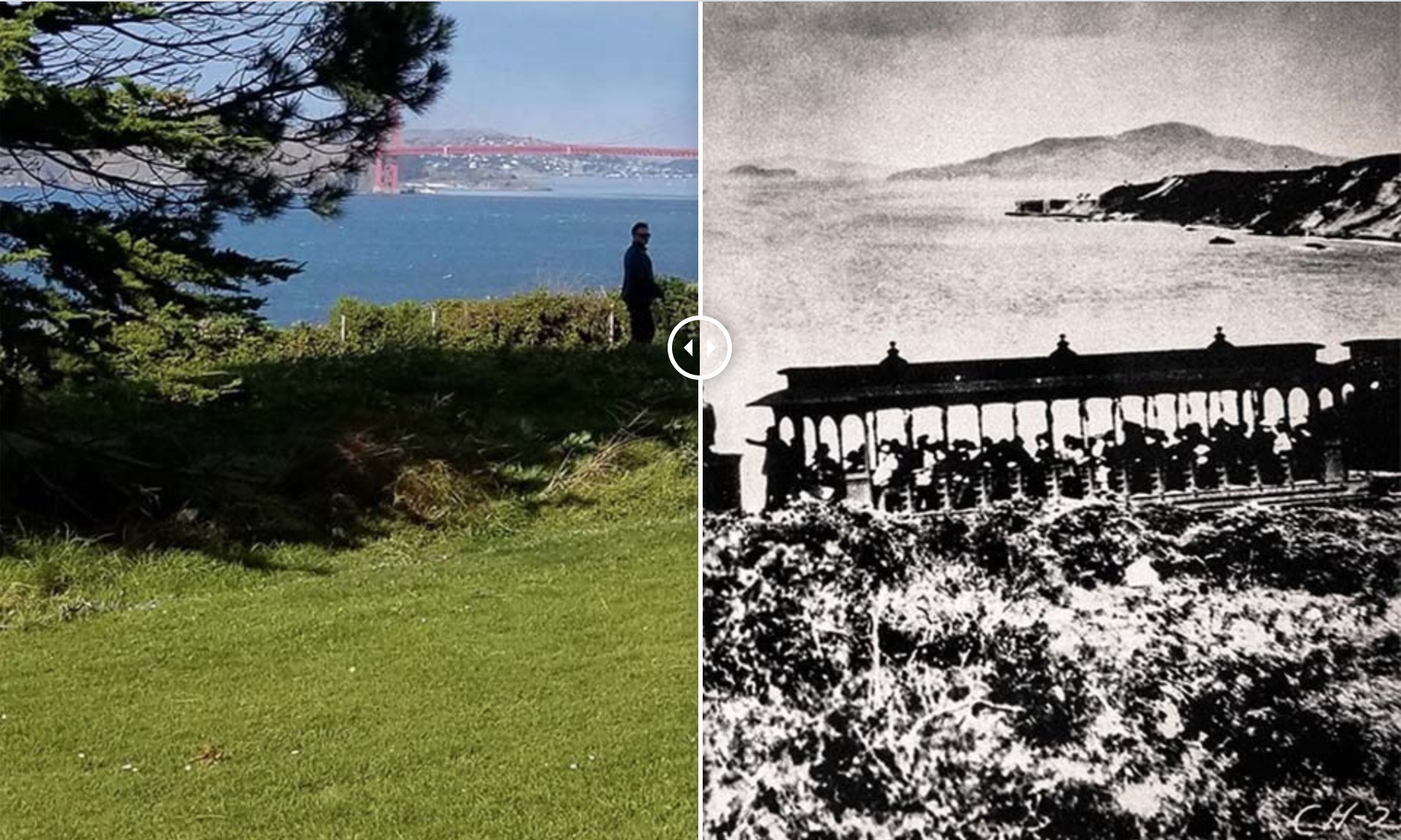 """Then and Now"" comparison of the 16th fairway of the Lincoln Park Golf Course vs. the same spot during the era of Sutro's Steam Train"