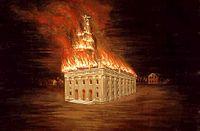 Depiction of the destruction of original temple