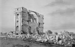 Ruins of original temple, 1848-49