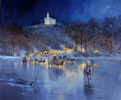 Depiction of the LDS church fleeing Nauvoo. Mississippi River had frozen over.