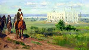 Depiction of Joseph Smith, Hryum, John Taylor and Willard Richards heading to Carthage to await court date for false charges. Last time Joseph and Hyrum saw the partially built temple