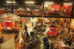 Second floor view of the many bikes and iconic cars in American history