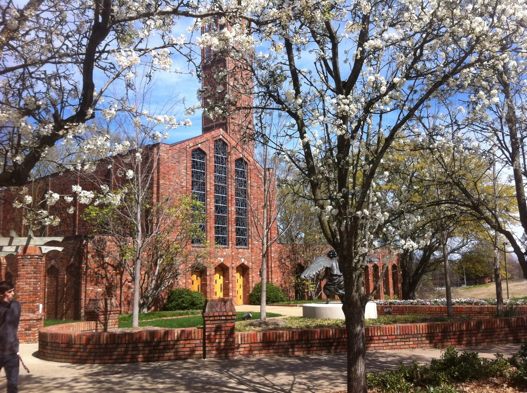The Chapel of Memories is made of brick recovered after a fire destroyed Old Main, a building that served as the campus dormitory and administrative building.