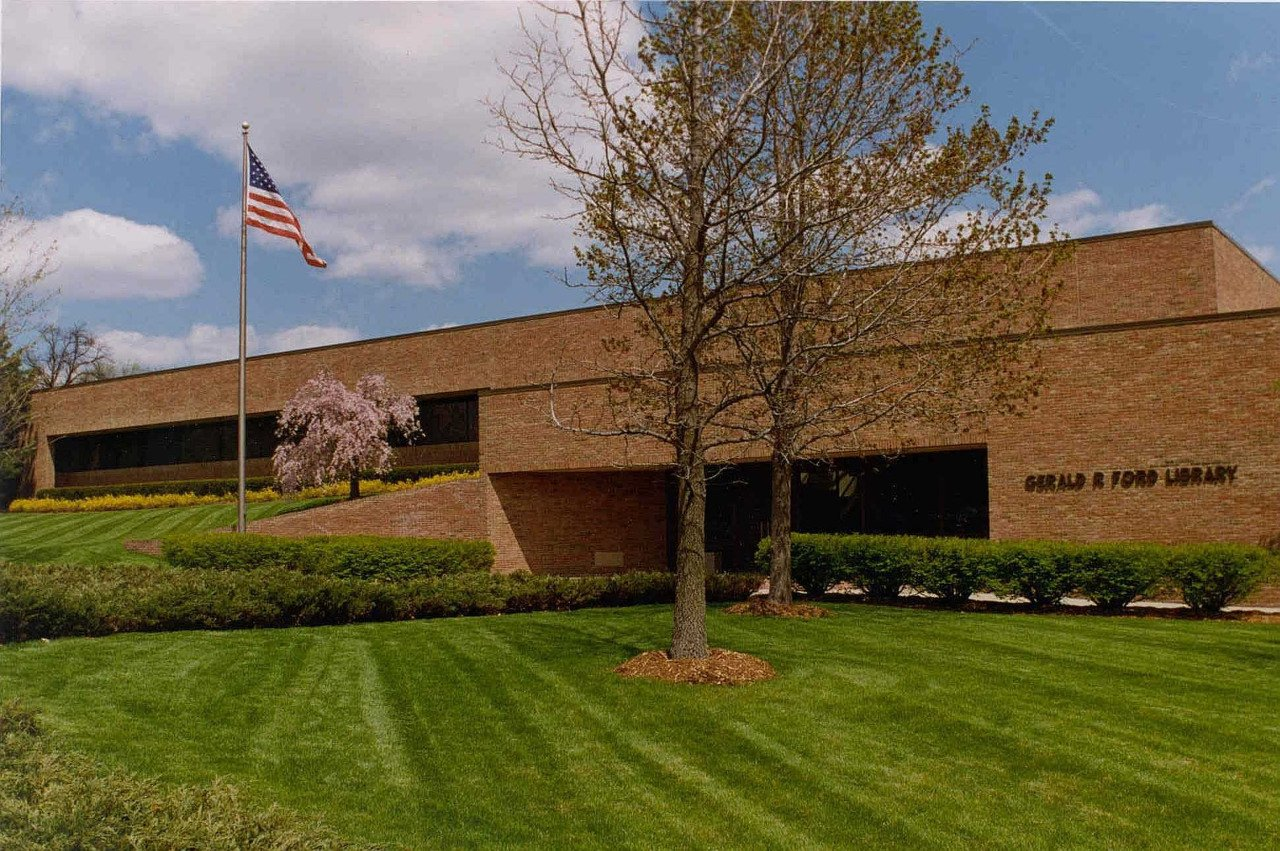 The Gerald R. Ford Presidential Library opened in 1981 on the north campus of the University of Michigan. Image obtained from Tumblr.