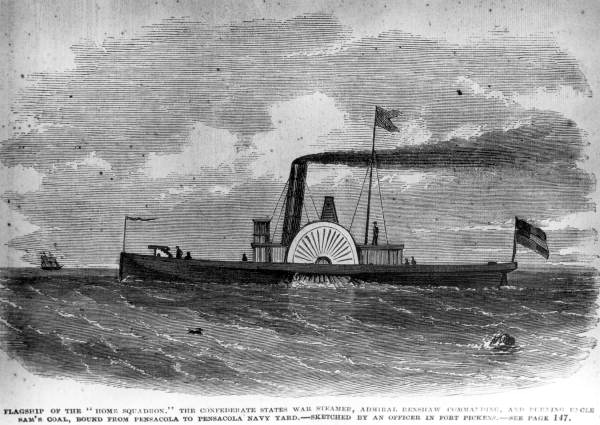 Confederate steamship at Pensacola during the Civil War.