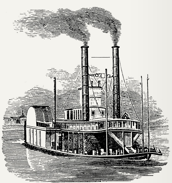 Depiction of a river steamboat around the 1850s
