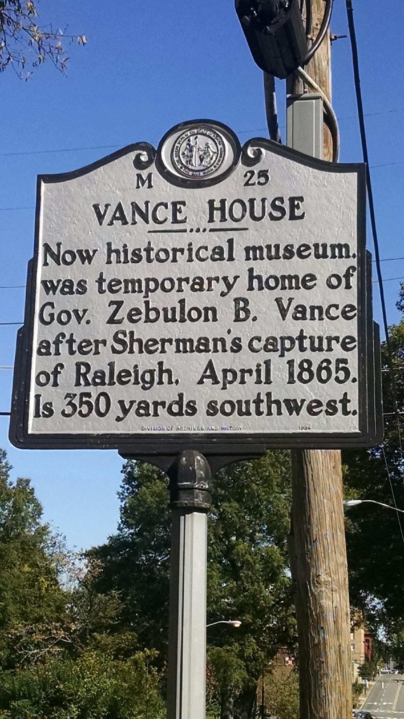 Vance House Historical Marker