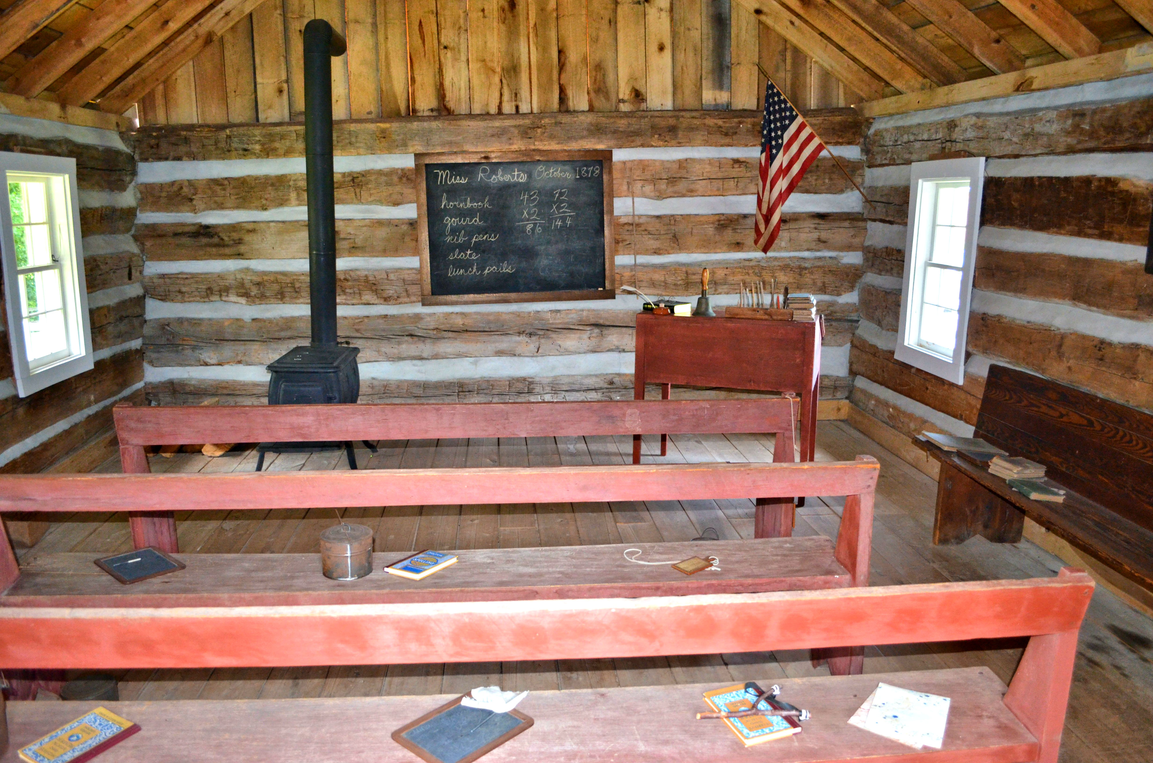 Interior of the replica one room school house.