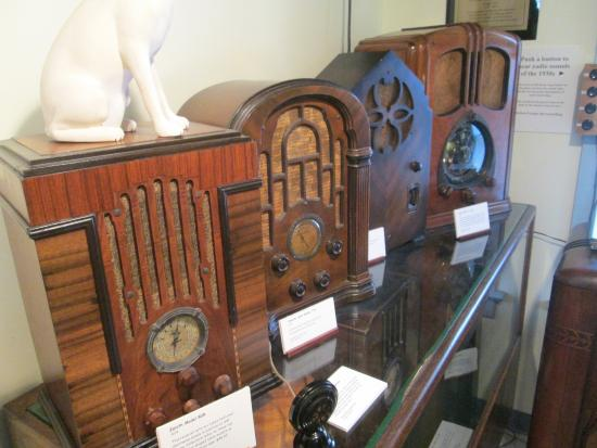 Closeup of some of the old radios on display