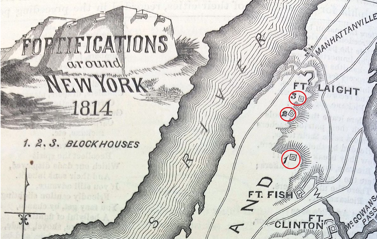 The location of blockhouse number one and the other fortifications built in northern Manhattan