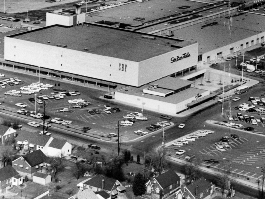Aerial view of Stix, Baer and Fuller at River Roads Mall - Jennings, Missouri, 1962