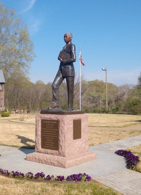 A statue of Dr. Mays which stands outside of his birthplace.