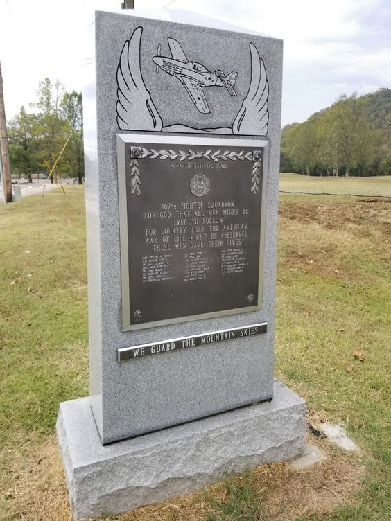 "There is a cement plaque located next to the West Virginia Air National Guard 167th Fighter Squadron Memorial Bridge. It reads, ""For God that all men might be free to follow for country that the American way of life might be preserved these men gave their lives."" Additionally, the plaque lists the members who were killed in April of 1951."