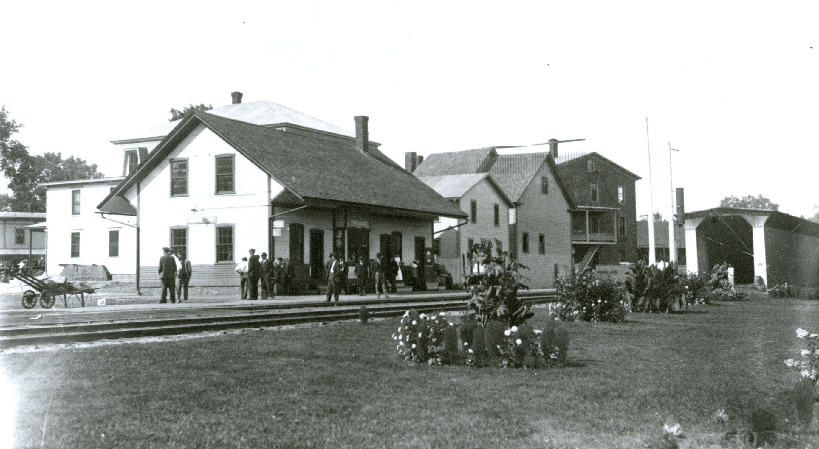 Providing an enjoyable travelling experience for its passengers was important to the Boston & Maine Railroad, which sponsored flower competitions at depots.  Shown here is a display of flowers at the Contoocook Depot.