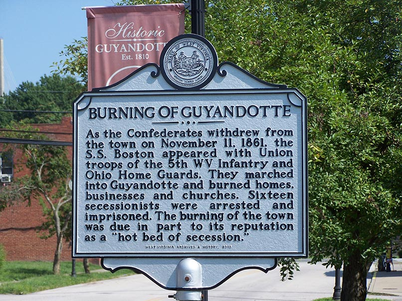 Historical marker for the Burning of Guyandotte